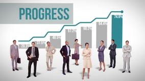 Commercieel team die zich tegen voordelige grafiek bevinden vector illustratie