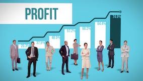 Commercieel team die zich tegen voordelige grafiek bevinden stock illustratie