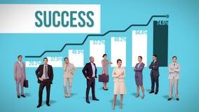 Commercieel team die zich tegen voordelige grafiek bevinden royalty-vrije illustratie
