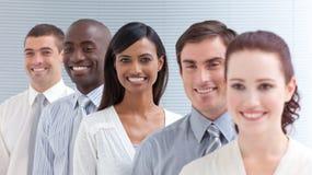 Commercieel team in een lijn. stock foto's