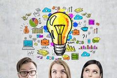 Commercieel team, gloeilamp en regeling Stock Afbeelding