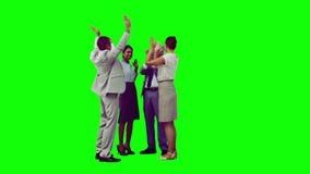 Commercieel team in het langzame motie toejuichen stock videobeelden
