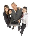 Commercieel team met notitieboekje Stock Foto's