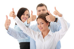 Commercieel team met omhoog duimen Royalty-vrije Stock Fotografie
