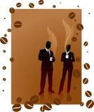 Commercieel team op een koffiepauzeachtergrond Stock Fotografie