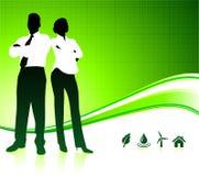 Commercieel team op groene milieuachtergrond Stock Foto