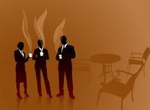 Commercieel team op koffiepauzeInternet achtergrond Royalty-vrije Stock Fotografie