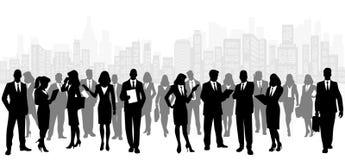 Commercieel team op stadsachtergrond stock illustratie