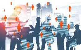 Commercieel team, sociale media, internationaal bedrijf stock foto