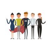 Commercieel team van werknemers en het chef- vectorpictogram Commerciële Com Stock Afbeelding