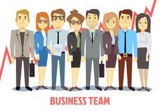 Commercieel team vectorconcept met mens en vrouw die zich de verenigen Groepswerkbeeldverhaal vector illustratie