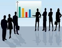 Commercieel Team - vectorsilhouet stock illustratie