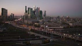 Commercieel van de stadsmoskou van Moskou Internationaal Centrum, Rusland Timelapse stock videobeelden