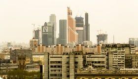Commercieel van Moskou Centrum met horizon Stock Fotografie