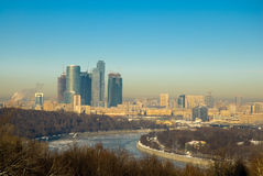 Commercieel van Moskou centrum. Panorama. Stock Foto's
