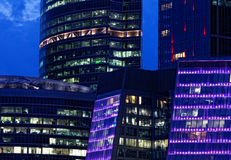 Commercieel van Moskou Internationaal Centrum, Moskou-Stad van nacht Royalty-vrije Stock Foto's