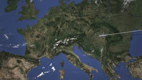 Commercieel vliegtuig dat aan Bern, Zwitserland vliegt Intro 3D animatie stock footage