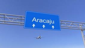 Commercieel vliegtuig die aan Aracaju-luchthaven aankomen Het reizen naar het conceptuele 3D teruggeven van Brazilië stock foto's