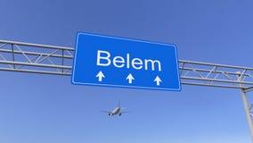 Commercieel vliegtuig die aan de luchthaven van Belem aankomen Het reizen naar het conceptuele 3D teruggeven van Brazilië Stock Foto's