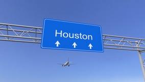 Commercieel vliegtuig die aan de luchthaven van Houston aankomen Het reizen naar het conceptuele 3D teruggeven van Verenigde Stat Stock Afbeeldingen