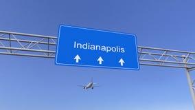 Commercieel vliegtuig die aan de luchthaven van Indianapolis aankomen Het reizen naar het conceptuele 3D teruggeven van Verenigde royalty-vrije stock foto