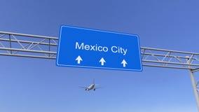 Commercieel vliegtuig die aan de luchthaven van Mexico-City aankomen Het reizen naar het conceptuele 3D teruggeven van Mexico Stock Afbeeldingen