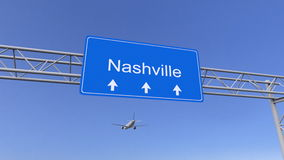 Commercieel vliegtuig die aan de luchthaven van Nashville aankomen Het reizen naar het conceptuele 3D teruggeven van Verenigde St Stock Foto