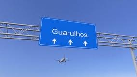 Commercieel vliegtuig die aan Guarulhos-luchthaven aankomen Het reizen naar het conceptuele 3D teruggeven van Brazilië stock afbeeldingen