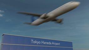 Commercieel vliegtuig die bij de Luchthaven van Tokyo Haneda het Redactie 3D teruggeven opstijgen Stock Foto