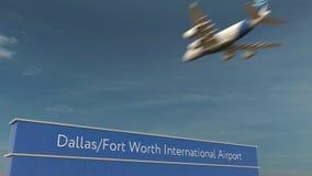 Commercieel vliegtuig die bij het 3D teruggeven van Dallas Fort Worth International Airport landen royalty-vrije stock fotografie