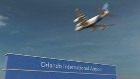 Commercieel vliegtuig die bij het 3D teruggeven van Orlando International Airport landen royalty-vrije stock afbeelding