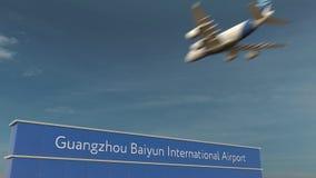 Commercieel vliegtuig die bij het Internationale de Luchthaven van Guangzhou Baiyun 3D teruggeven landen Stock Afbeelding
