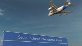 Commercieel vliegtuig die bij het Internationale de Luchthaven van Seoel Incheon 3D teruggeven landen Stock Foto