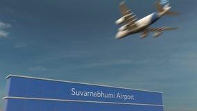 Commercieel vliegtuig die bij Suvarnabhumi-Luchthaven het 3D teruggeven landen Royalty-vrije Stock Foto