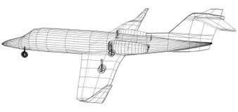 Commercieel Vliegtuig Snel Reis en vervoersconcept Vector draad-kader concept Gecreeerde illustratie van 3d stock illustratie