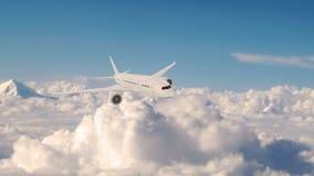 Commercieel vliegtuig tijdens de vlucht, vliegtuig die boven wolken vliegen royalty-vrije illustratie