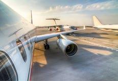 Commercieel Vliegtuigenparkeren Royalty-vrije Stock Foto