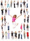 Commerciële groep met wat het springen Stock Fotografie