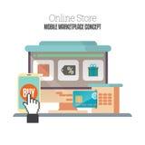 Commercio ambulante online Fotografie Stock