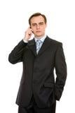 Commercio con un telefono mobile. Isolato su bianco. Fotografia Stock