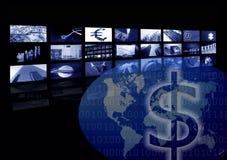 Commercio corporativo, programma di mondo, schermo multiplo illustrazione vettoriale