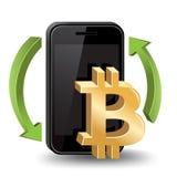 Commercio del cellulare di Bitcoin Fotografia Stock Libera da Diritti
