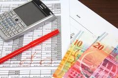 Commercio del franco svizzero fotografia stock