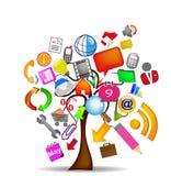 Commercio delle icone dell'albero Fotografia Stock