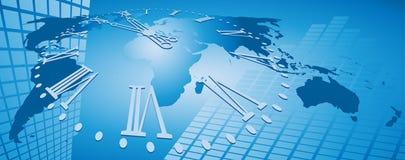 Commercio di mondo e priorità bassa di tempo Immagine Stock Libera da Diritti