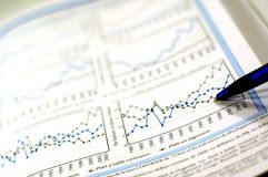Commercio e rapporto finanziario Fotografia Stock Libera da Diritti