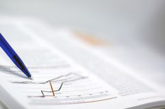 Commercio e rapporto finanziario Fotografie Stock