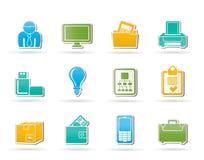 Commercio ed icone dei mobili d'ufficio Immagini Stock Libere da Diritti