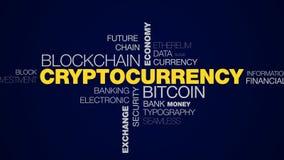 Commercio elettronico di affari di tecnologia di economia del blockchain del bitcoin di Cryptocurrency che estrae parola animata  video d archivio