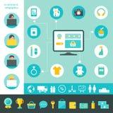 Commercio elettronico e Infographics di compera online Immagine Stock